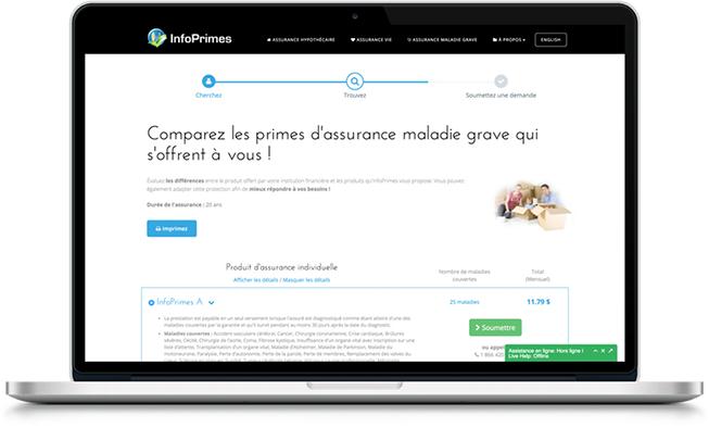 Interface du comparateur de primes en ligne d'InfoPrimes